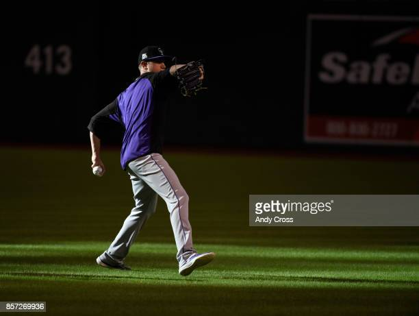 Colorado Rockies pitcher Kyle Freeland warmsup at Chase Field October 03 2017 The Colorado Rockies will play the Arizona Diamondbacks for the...