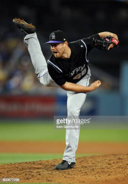Colorado Rockies pitcher Scott Oberg in action during the seventh inning of a game against the Los Angeles Dodgers on June 24 played at Dodger...