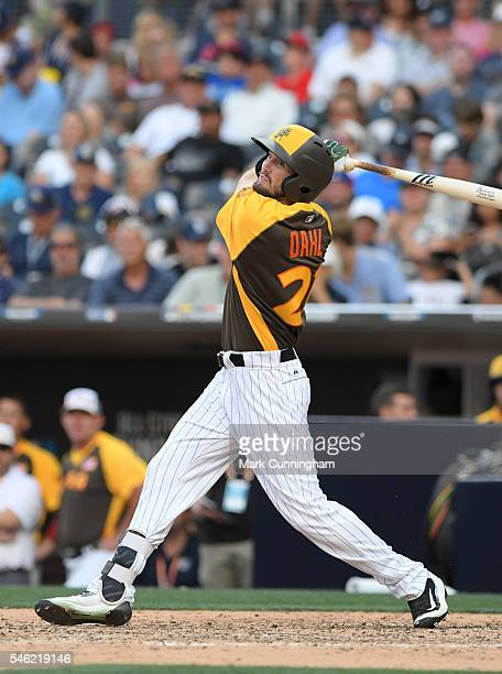 Colorado Rockies prospect David Dahl of Team USA bats during the SiriusXM AllStar Futures Game at PETCO Park on July 10 2016 in San Diego California...