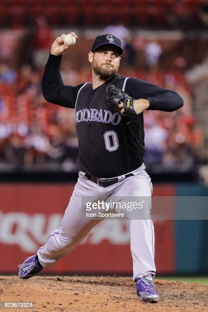 Colorado Rockies relief pitcher Adam Ottavino delivers during the eighth inning of a baseball game against the St Louis Cardinals July 26 at Busch...