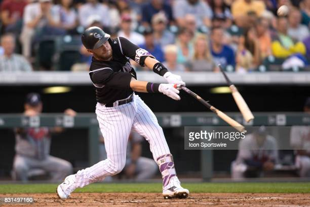 Colorado Rockies second baseman Trevor Story breaks his bat while hitting during the Colorado Rockies game vs the Atlanta Braves on August 14 2017 at...
