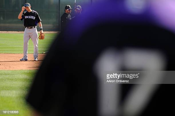 Colorado Rockies shortstop Troy Tulowitzki calls out the strategy for a defensive drill during spring training at Salt River Fields at Talking Stick...
