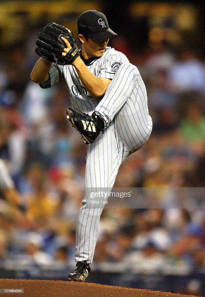 Colorado Rockies starter ByungHyun Kim ptiches during f 21 victory over the Los Angeles Dodgers at Dodger Stadium in Los Angeles Calif on Wednesday...