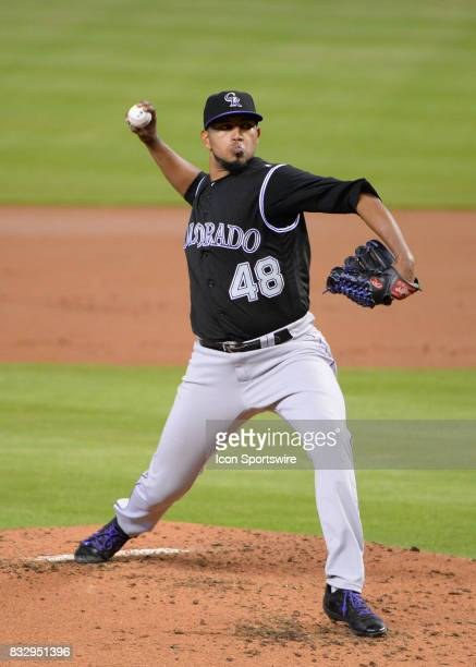 Colorado Rockies starting pitcher German Marquez throws a pitch during the third inning in a game between the Miami Marlins and the Colorado Rockies...