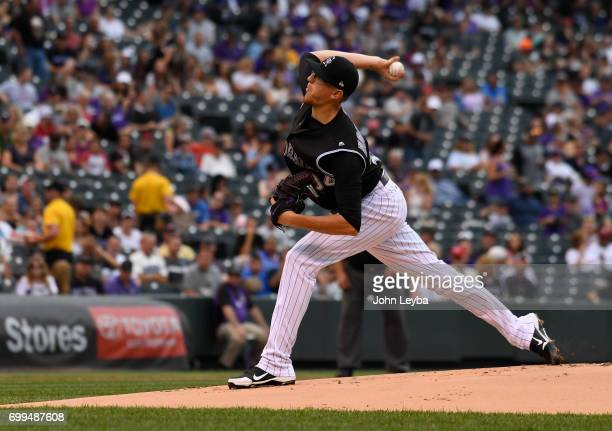 Colorado Rockies starting pitcher Jeff Hoffman delivers a pitch in the first inning against the Arizona Diamondbacks on June 21 2017 in Denver...