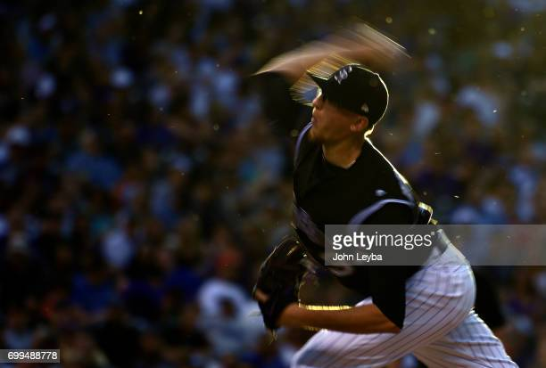 Colorado Rockies starting pitcher Jeff Hoffman delivers a pitch in the fourth inning against the Arizona Diamondbacks on June 21 2017 in Denver...
