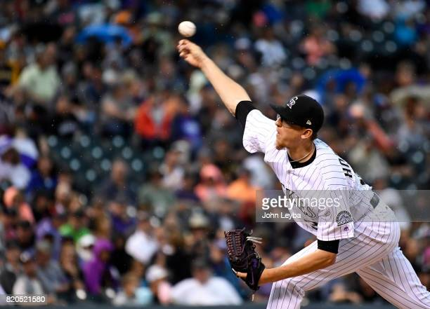 Colorado Rockies starting pitcher Jeff Hoffman delivers a pitch in the second inning against the Pittsburgh Pirates on July 21 2017 in Denver...