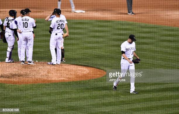 Colorado Rockies starting pitcher Jeff Hoffman walks off the mound and heads to the dugout in the fourth inning on July 21 2017 in Denver Colorado at...