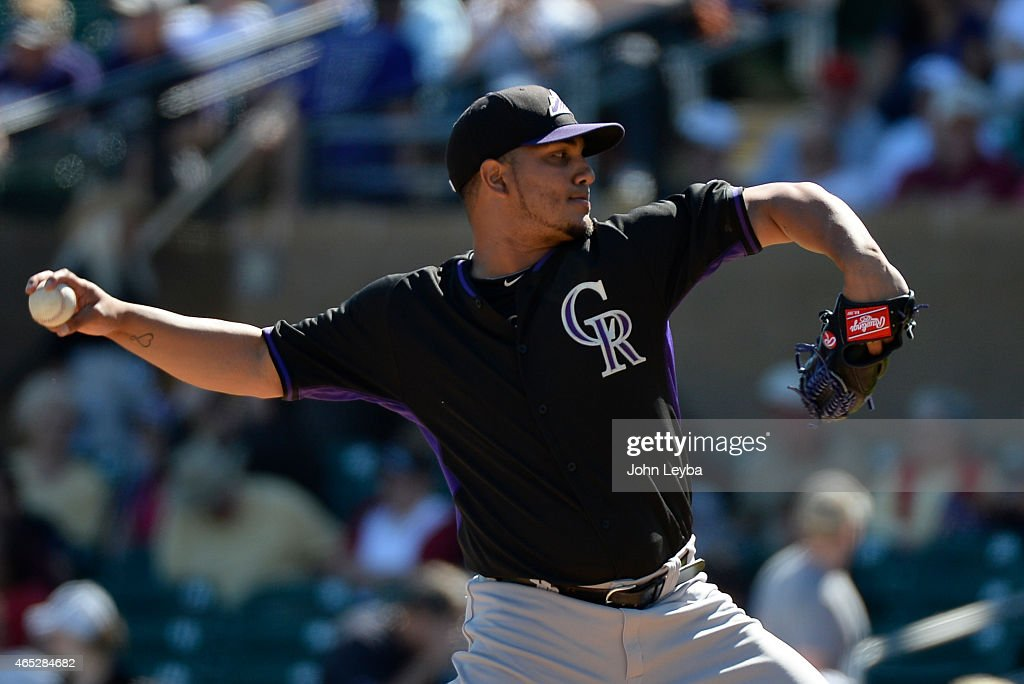 Colorado Rockies starting pitcher Jhoulys Chacin delivers a pitch in the first inning against the Arizona Diamondbacks March 5 2015 at Salt River...