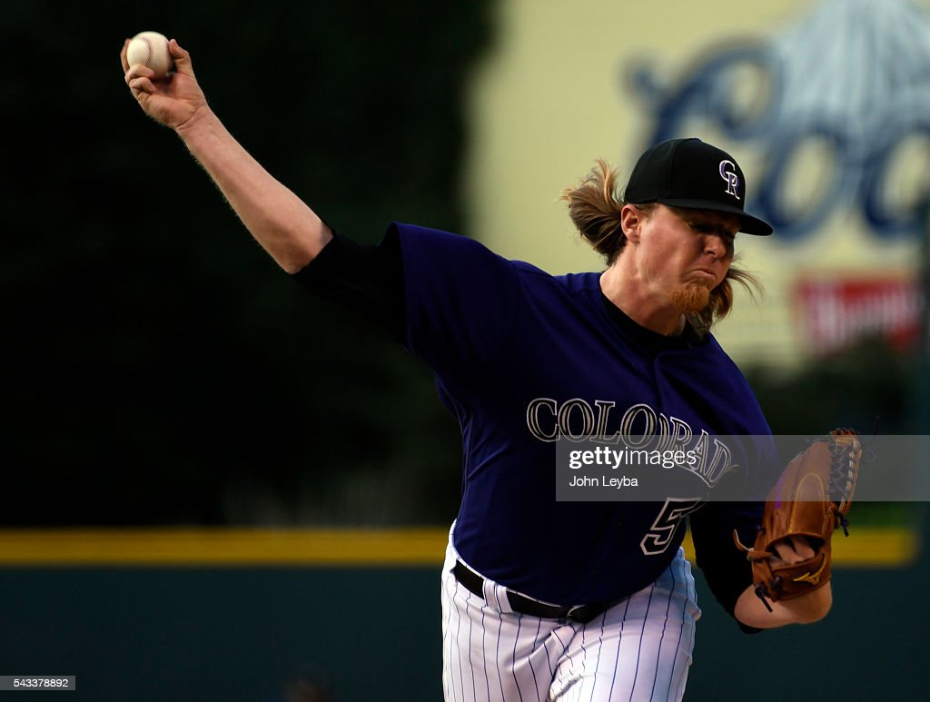 Colorado Rockies starting pitcher <a gi-track='captionPersonalityLinkClicked' href=/galleries/search?phrase=Jon+Gray+-+Baseball+Player&family=editorial&specificpeople=15015247 ng-click='$event.stopPropagation()'>Jon Gray</a> (55) delivers a pitch against the Toronto Blue Jays during the first inning June 27, 2016 at Coors Field.