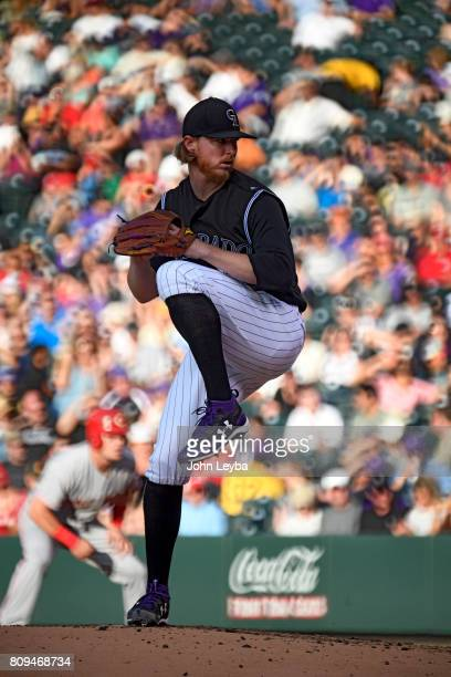 Colorado Rockies starting pitcher Jon Gray delivers a pitch in the third inning against the Cincinnati Reds on July 5 2017 in Denver Colorado at...