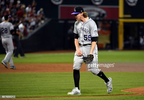 Colorado Rockies starting pitcher Jon Gray yells out in frustration after giving up a double to Arizona Diamondbacks center fielder AJ Pollock in the...