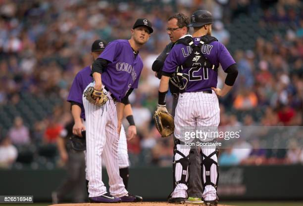 Colorado Rockies starting pitcher Kyle Freeland leaves the game in the 1st inning with an injury during the Colorado Rockies game vs the Philadelphia...