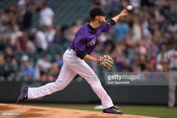 Colorado Rockies starting pitcher Kyle Freeland pitches during the Colorado Rockies game vs the Atlanta Braves on August 15 2017 at Coors Field in...