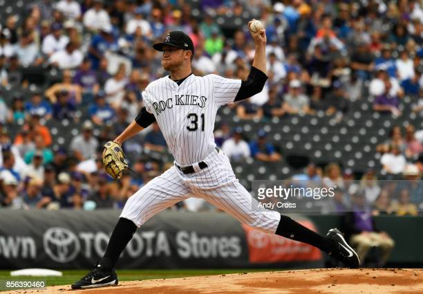 Colorado Rockies starting pitcher Kyle Freeland pitching against the Los Angeles Dodgers in the first inning at Coors Field October 01 2017
