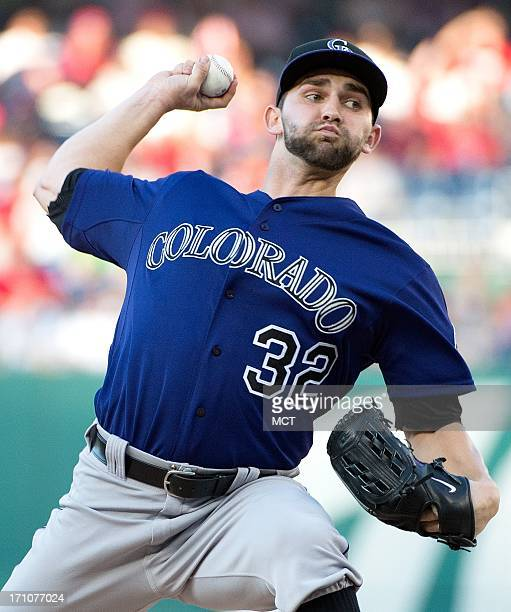Colorado Rockies starting pitcher Tyler Chatwood delivers a pitch against the Washington Nationals during the firstinning at Nationals Park in...