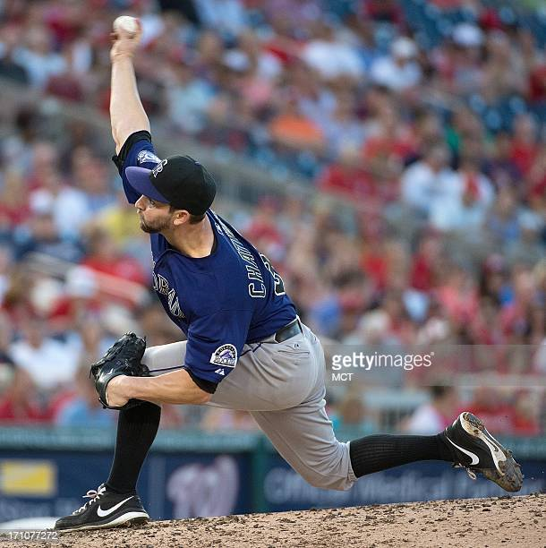 Colorado Rockies starting pitcher Tyler Chatwood delivers a pitch against Washington Nationals during the fourth inning at Nationals Park in...