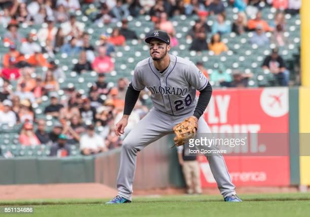 Colorado Rockies Third base Nolan Arenado gets set for a potential hit during the regular season game between the San Francisco Giants verses the...