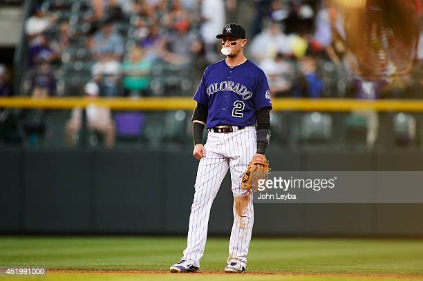 Colorado Rockies Troy Tulowitzki blow a bubble during their game against the San Diego Padres July 7 2014 at Coors Field