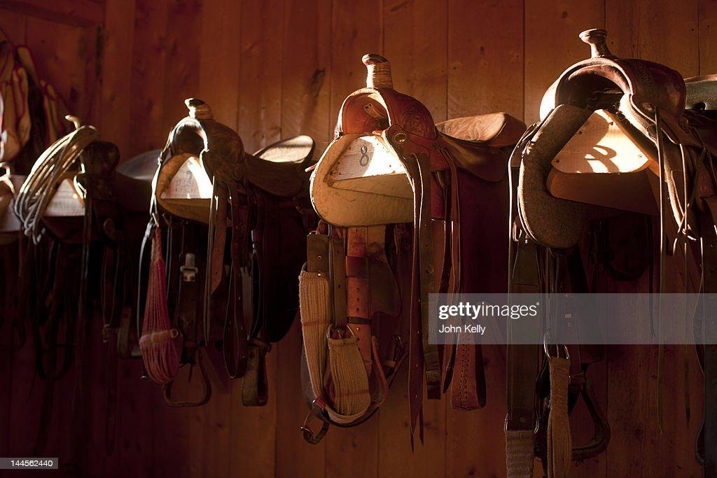 USA, Colorado, Saddles in barn