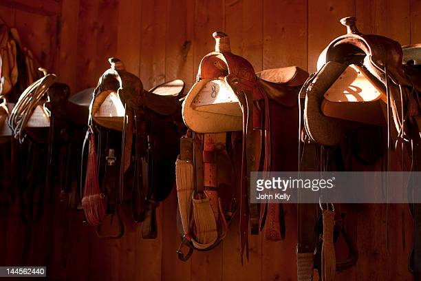 USA, Colorado, Saddles in barn