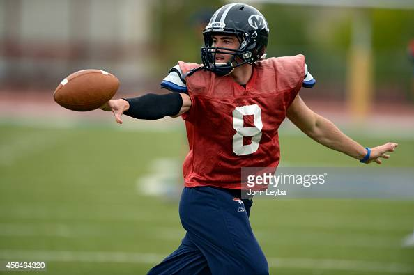 Colorado School of Mines quarterback Justin Dvorak pitches the ball out to the running back during practice September 30 2014 The Colorado School of...