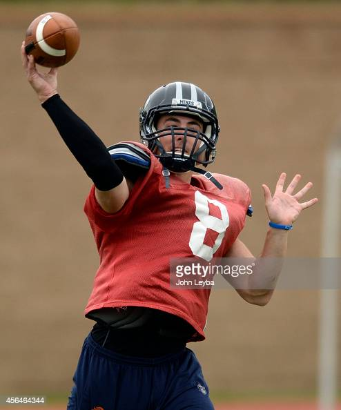 Colorado School of Mines quarterback Justin Dvorak throws a pass during practice September 30 2014 The Colorado School of Mines football team and its...