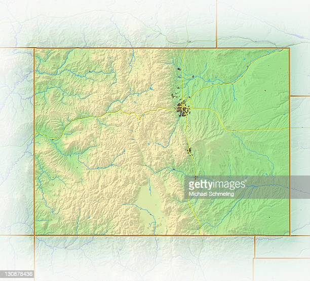 Colorado, shaded relief map, USA