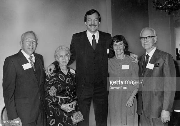 """Colorado Sports Hall Of Fame Honors New Members From left WB """"Pete"""" Franklin and Mrs Walter Franklin Son and Widow of inductee Join Byron Beck Joan..."""
