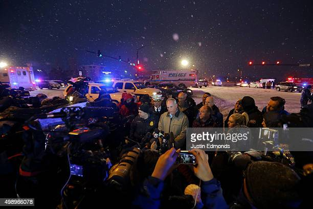 Colorado Springs police chief Peter Carey addresses the media during an active shooter situation outside a Planned Parenthood facility where an...