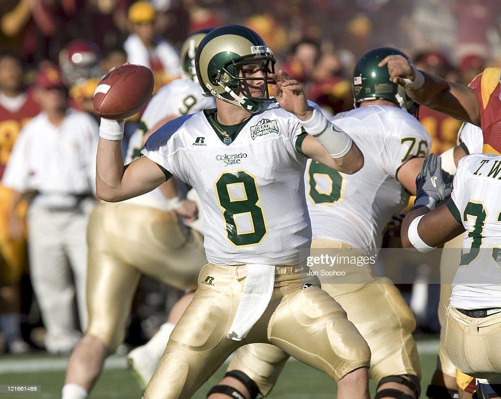 Colorado State Rams quarterback Justin Holland vs USC Trojans Saturday September 11 2004 at the Los Angeles Memorial ColiseumUSC won the game 490