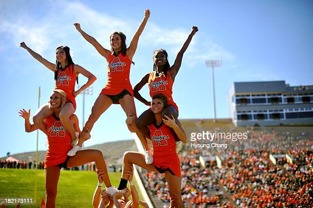 Colorado State University cheer leaders are in the field during the game against University of Texas at El Paso at Hughes Stadium Fort Collins...