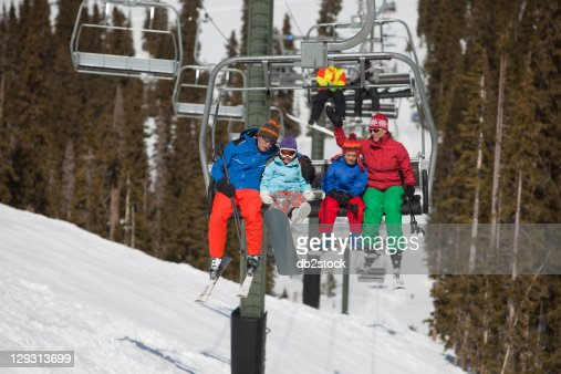 USA, Colorado, Telluride, Family on ski lift