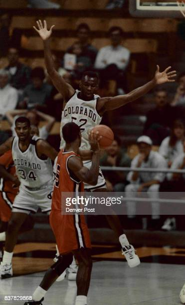 Colorado University Athletics Basketball Mark Dean of CU defends on Bears Shaun Thompson in the 1st half of play Credit The Denver Post