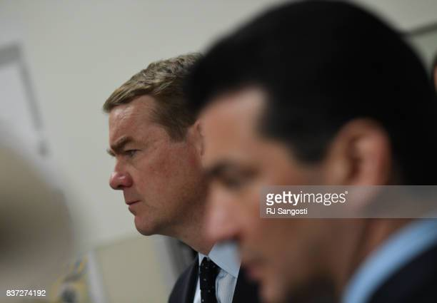 Colorado US Sen Michael Bennet left and FDA Commissioner Scott Gottlieb with others tour University of Colorado Hospital's emergency department on...