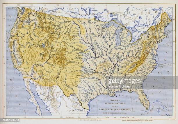 Colorcoded map entitled 'Map No 1 Physical Features of the United States of America' depicts the country's geographic features such as rivers lakes...