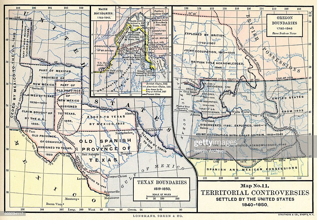 Map No Territorial Controversies Settled By The US - Us map no color