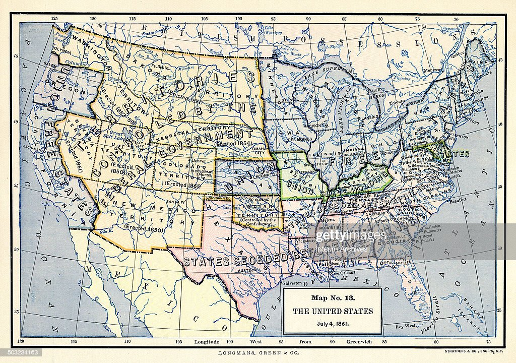 Map No 13 The United States July 4 1861 Pictures Getty Images