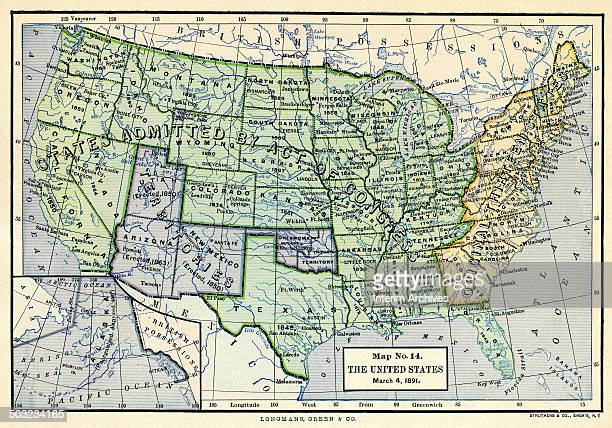 Colorcoded map entitled 'Map No 14 The United States March 4' illustrates the 'Original Thirteen States' 'States Admitted by Acts of Congress' and...