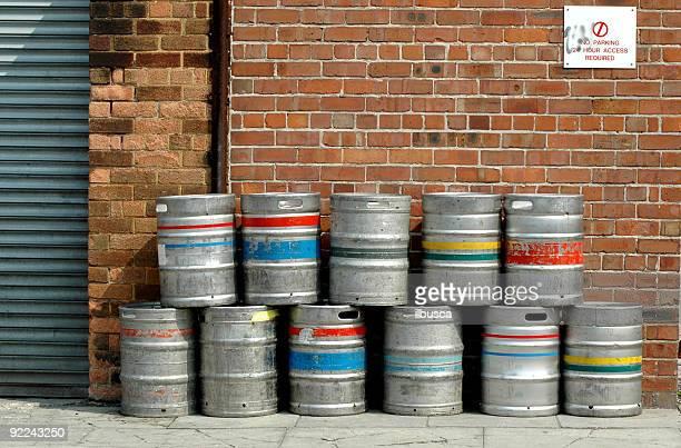 Colored beer barrel outside a pub