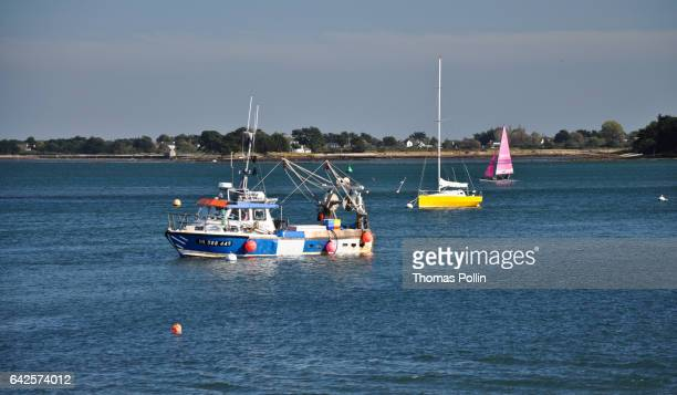3 colored boats in the Gulf of Morbihan