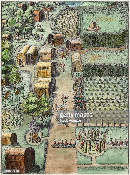 Colored engraving depicts an elevated view of Native American village of Secota where the inhabitants engage in a variety of activities including...
