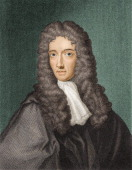 Colored engraving of British chemist Robert Boyle one of the founders of modern chemistry 17th century