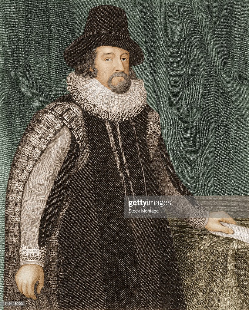 Colored engraving of British philosopher scientist statesman and author Sir Francis Bacon early to mid 17th century
