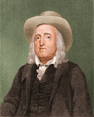 Colored engraving of English philosopher jurist and social activist Jeremy Bentham early 19th century
