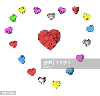 Corações de Cor : Foto de stock