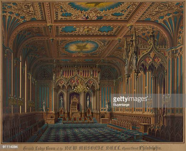 Colored lithograph shows the interior of the 'Grand Lodge room of the new Masonic Hall Chestnut Street Philadelphia' Pennsylvania 1855