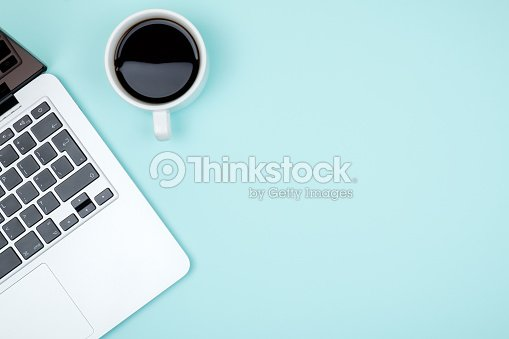 Colored office desk table with computer. Top view with copy space : Stock Photo