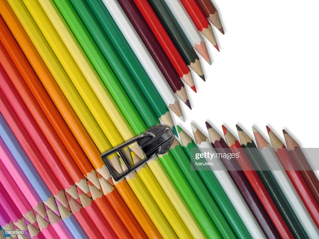 Colored Pencil Crayons with Zipper : Stock Photo