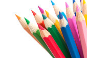 Multicolored pencils isolated on white background close-up